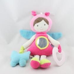 Doudou poupée fille papillon rose bleu vert miroir Sucre d'orge