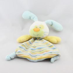 Doudou plat lapin blanc bleu jaune vert rayé BELLODOUX