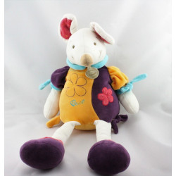 Doudou et compagnie souris Hawai blanche jaune violet bleu rose