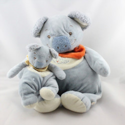 Grand Doudou koala bleu foulard orange avec bébé NOUKIE'S