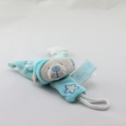 Attache tétine Doudou ours gris bleu étoile luminescent BABY NAT