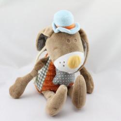 Doudou musical lapin marron orange Chapeau bleu Bengy