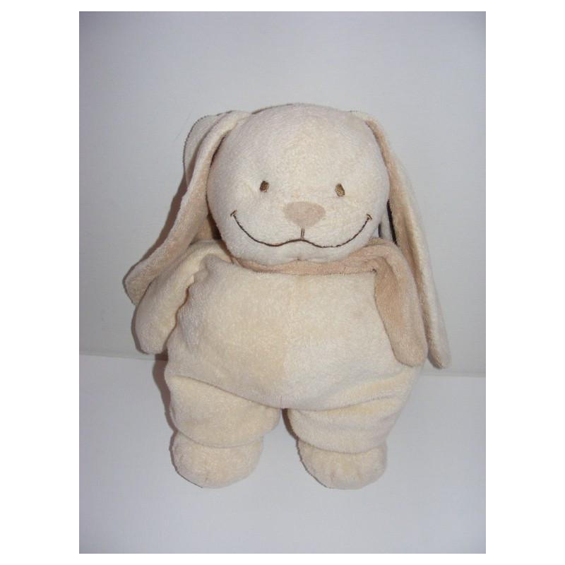 Doudou lapin écru beige avec écharpe NICOTOY