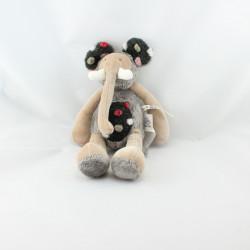 Doudou éléphant Les Zazous beige gris noir MOULIN ROTY