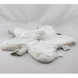 Doudou plat étoile ours gris blanc étiquettes Tidou NOUKIE'S