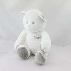 Doudou ours blanc gris Musti de Mustela