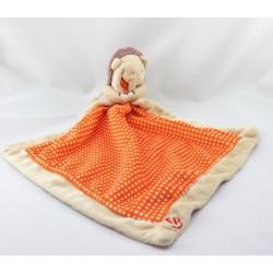 Doudou lion beige orange mouchoir FISHER PRICE