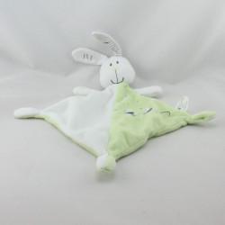 Doudou plat lapin blanc vert canards VETIR
