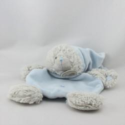 Doudou plat ours gris bleu bonnet BABY NAT