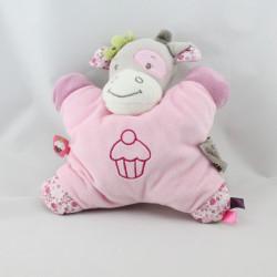 Doudou semi plat vache grise rose cupcake Nattou