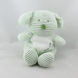 Doudou chien vert blanc bébé KMB KIMBALOO
