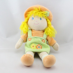Doudou poupée fille vert orange nattes jaune ANNA CLUB PLUSH