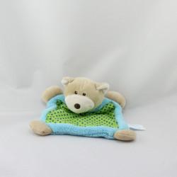 Doudou plat ours bleu vert pois PLANET PLUCH