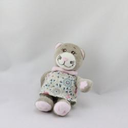 Mini Doudou chat gris rose robe fleurs BENGY