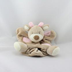 Doudou plat marionnette girafe beige rose BEBE9