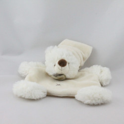 Doudou plat ours blanc écru bonnet BABY NAT