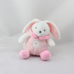 Doudou lapin boule blanc rose fleur CMP