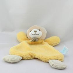 Doudou plat ours beige jaune rayé BABY NAT
