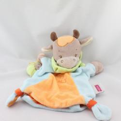 Doudou plat marionnette girafe vache marron bleu orange NATTOU