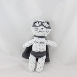 Doudou chat blanc gris super héros IKKS