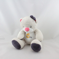 Doudou ours blanc beige rose violet Arthur et Lola BEBISOL