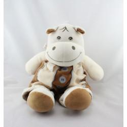 Doudou hippopotame Hyppolyte blanc beige bleu marron TAKINOU