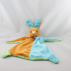 Doudou plat lapin bleu vert orange TOI TOYS