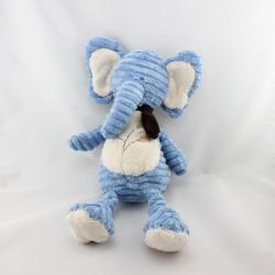 Doudou éléphant bleu blanc feuilles TEX