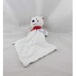 Doudou ours blanc bleu rouge mouchoir Cajou SUCRE D'ORGE
