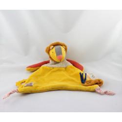 Doudou plat lion jaune rouge beige Les Papoum MOULIN ROTY