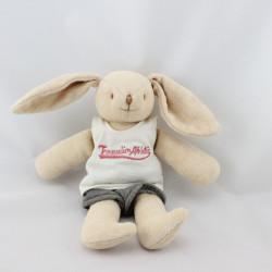 Doudou lapin beige blanc gris Trousselier Athletic