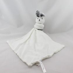 Doudou plat lapin blanc rayé gris mouchoir BOUCHARA COLLECTION EURODIF