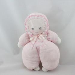 Doudou poupée chiffon rose blanc rayé MUNDIA