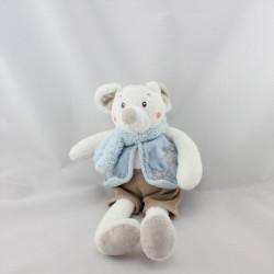 Doudou souris blanche veste bleu short marron