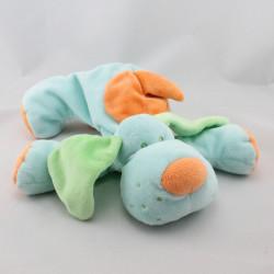 Doudou chien bleu vert orange TIAMO