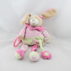 Doudou lapin rose vert fleur anneau BABY NAT