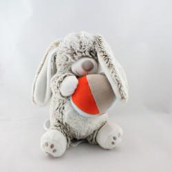 Doudou musical lapin marron blanc balle TEX