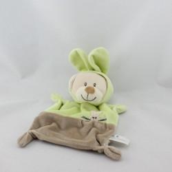 Doudou plat ours déguisé en lapin beige vert ZANNIER