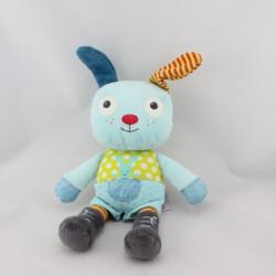 Doudou lapin chien bleu vert pois POMMETTE