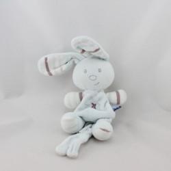 Doudou lapin bleu rayé violet attache tétine SUCRE D'ORGE