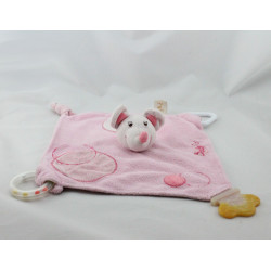 Doudou plat souris rose hochet dentition BABY NAT