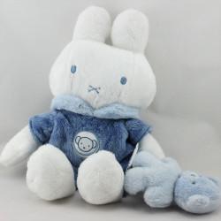 Doudou lapin bleu blanc avec ourson MIFFY SUN CITY