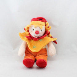 Doudou et compagnie clown orange rouge mouchoir do ré mi fa