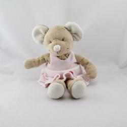 Doudou souris beige robe rose ballon BENGY