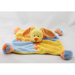 Doudou plat lapin jaune bleu étoile soleil BABY LUNA