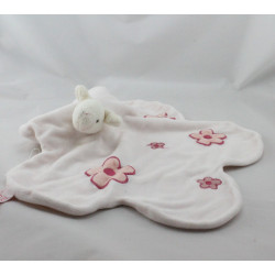 Doudou plat mouton rose fleurs  EGMONT TOYS