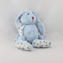 Doudou lapin bleu fleurs AUBERT
