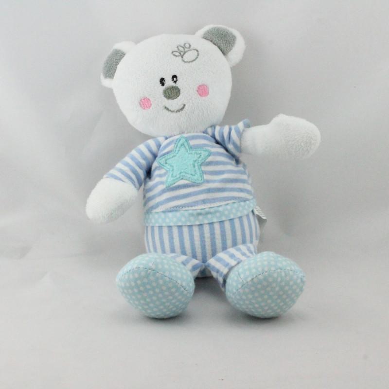 Doudou ours blanc bleu rayé étoile MAXITA