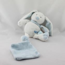 Doudou Lapin blanc bleu mouchoir Baby nat