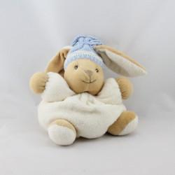Doudou lapin blanc écru bonnet bleu laine KALOO